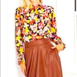 WHO WHAT WEAR Black Floral High Neck Blouse XS